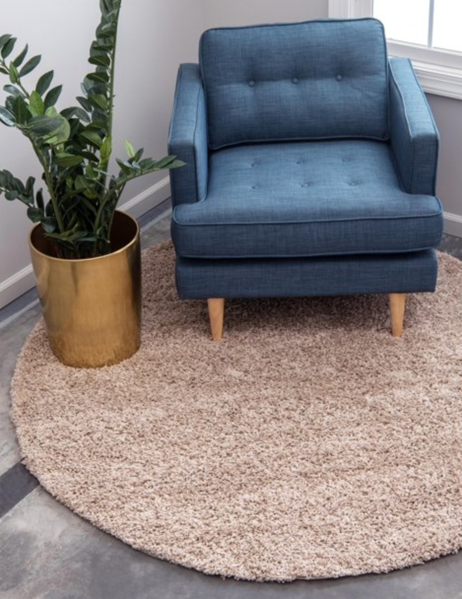 The shag rug  in taupe