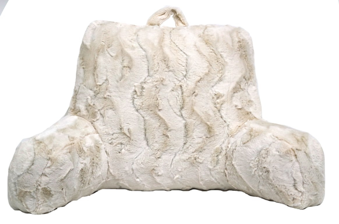 The faux fur backrest pillow in ivory
