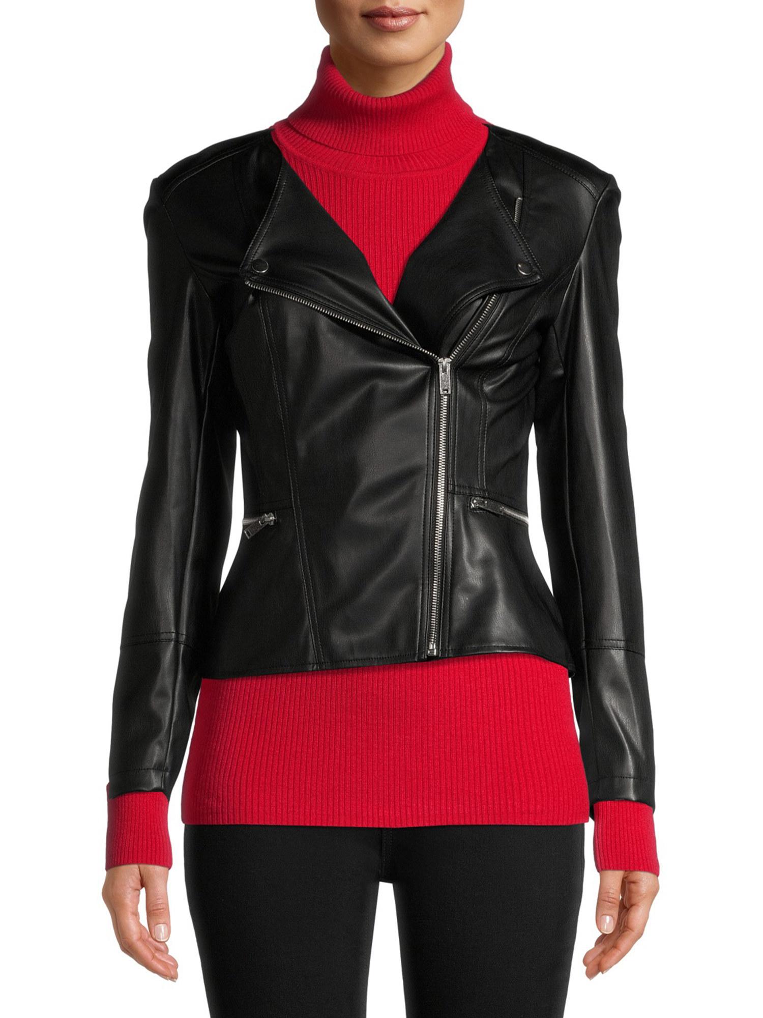 person wearing a black faux fur peplum jacket