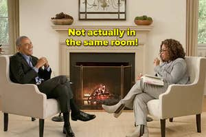 """Barack Obama and Oprah with the caption """"Not actually in the same room!"""""""