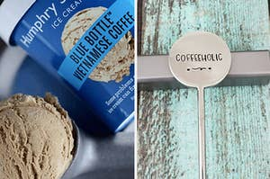 "on the left, blue bottle coffee ice cream, and on the right, a coffee stirrer with ""coffeeholic"" engraved on it"