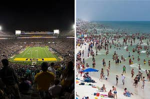 football stadium on the left, crowded beach on the right