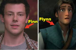 "Cory Monteith as Finn Hudson in the show ""Glee"" and Flynn Rider gazes into the distance in the movie ""Tangled."""