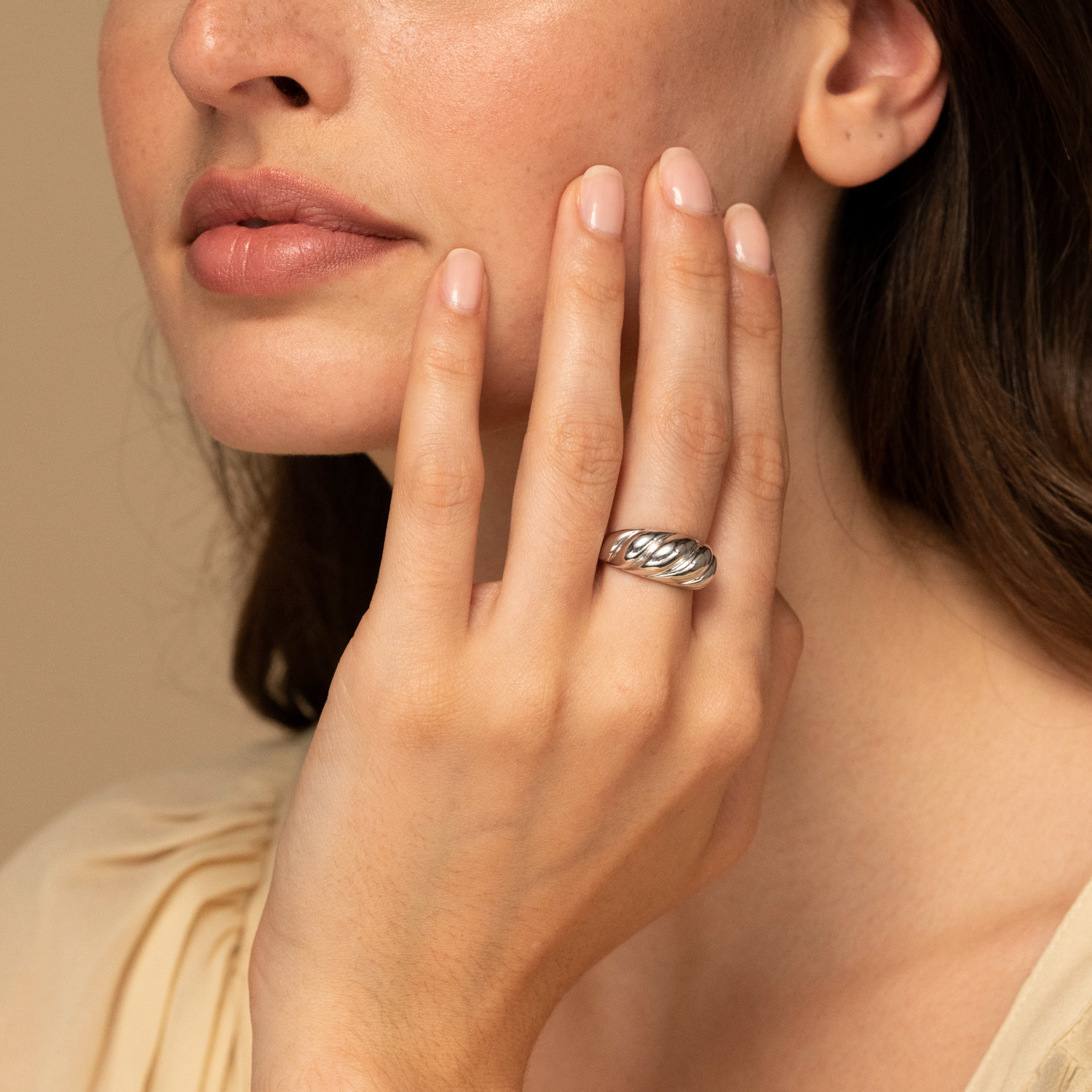 model wearing the silver ring