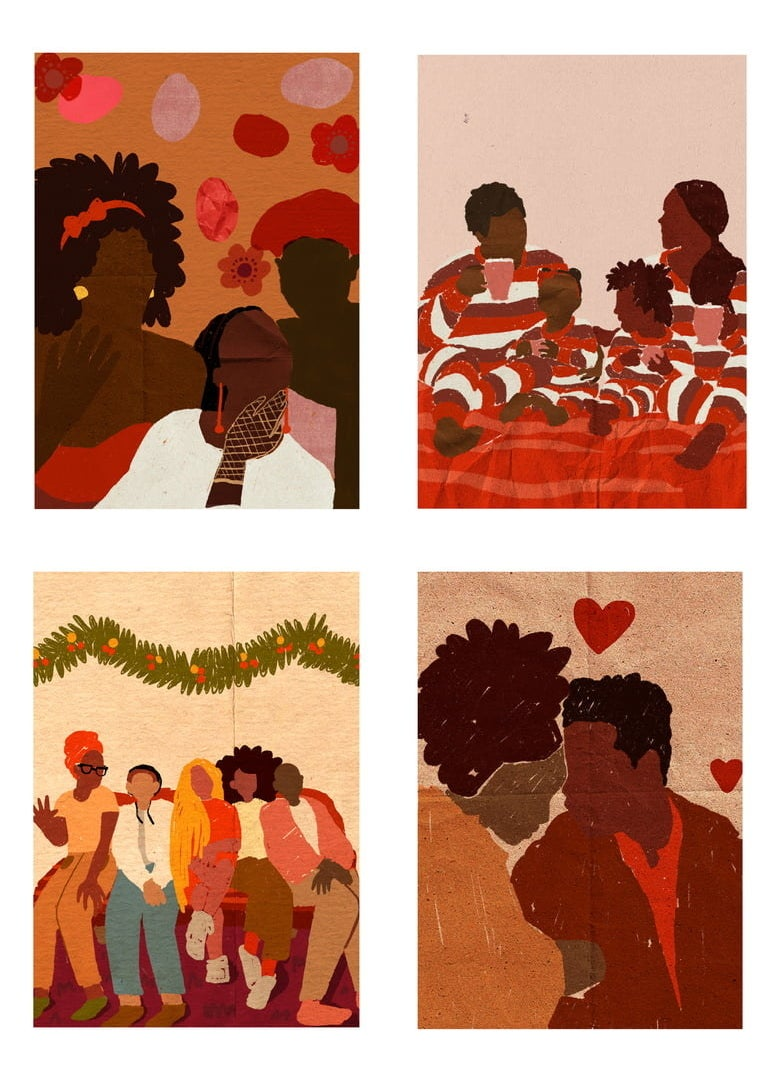The four cards included in the set with illustrations of people enjoying the holidays