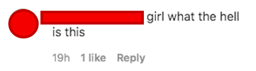 a comment that says girl what the hell