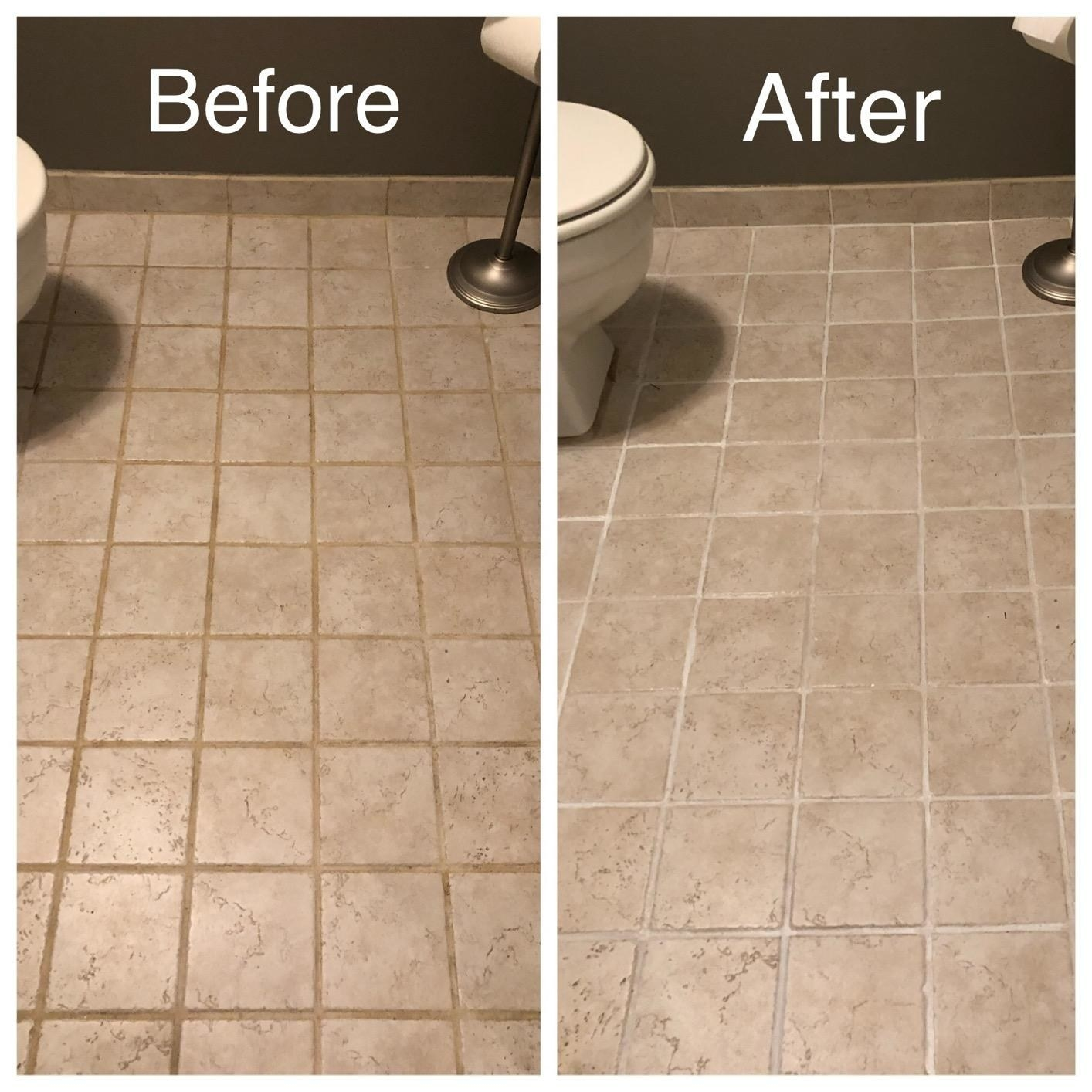 Reviewer image of before and after using the grout pen on their tiles