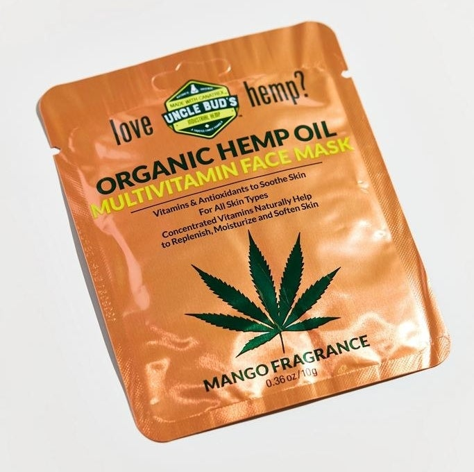 the orange packaging of the Uncle Bud's Organic Hemp Oil Multivitamin face mask