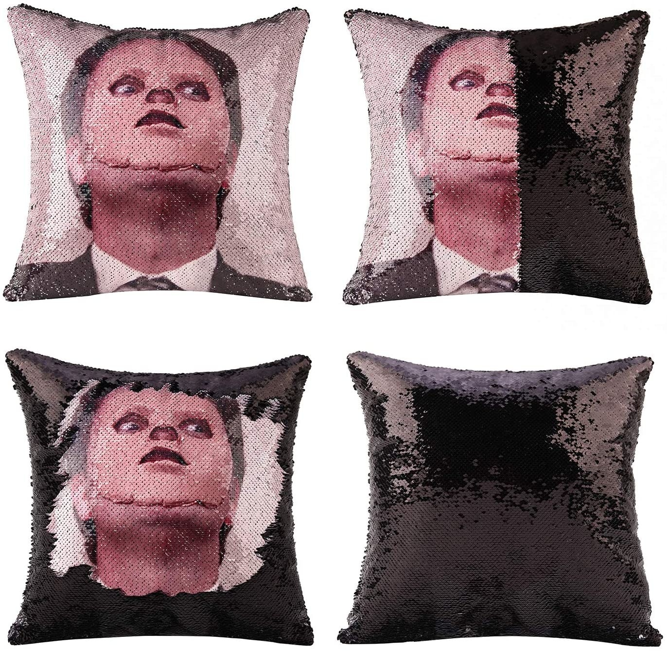 Four images of the pillow showing what it looks like when the sequins are flipped