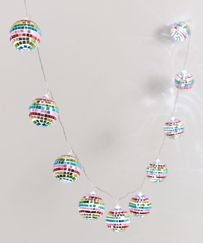 rainbow colored hanging disco ball string lights