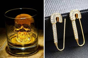 A skull ice cube / safety pin earrings