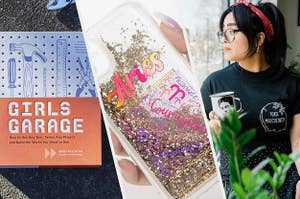 A copy of Girls Garage, an Aries phone case, and a person wearing a Toxic Masculinity tee