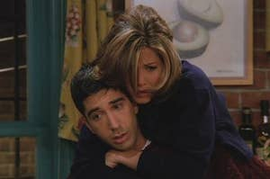 Ross and Rachel in season 2 after Ross finds out that Rachel has feelings for him