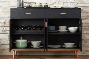 the willa arlo sideboard opened to reveal the wine rack and storage shelves
