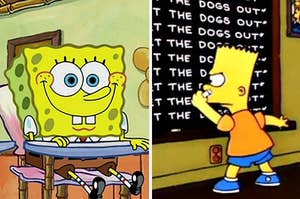 "Spongebob Squarepants sits in a school desk and Bart Simpson writes ""I Will Not Let The Dogs Out"" on a blackboard."