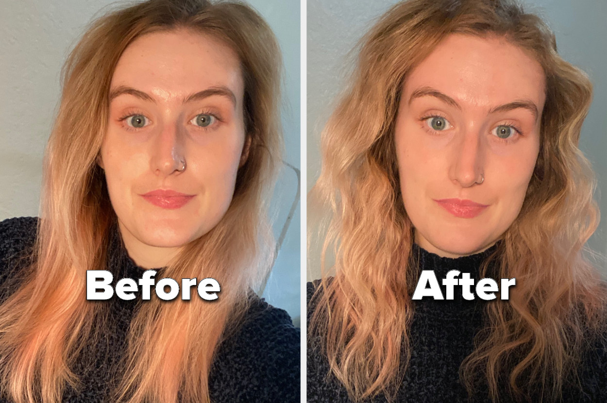 """A photo of me looking at the camera with undone, straight hair with the text """"before"""" and a photo of me looking at the camera with dramatic, zigzag waves and frizzy ends"""