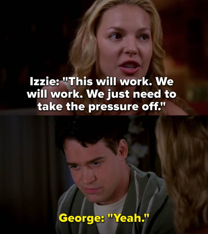 Izzie says their relationship will work, they just need to take the pressure off