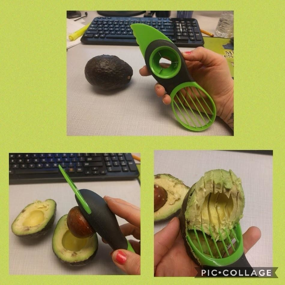 Reviewer showing all of the three ways to use the avocado cutter