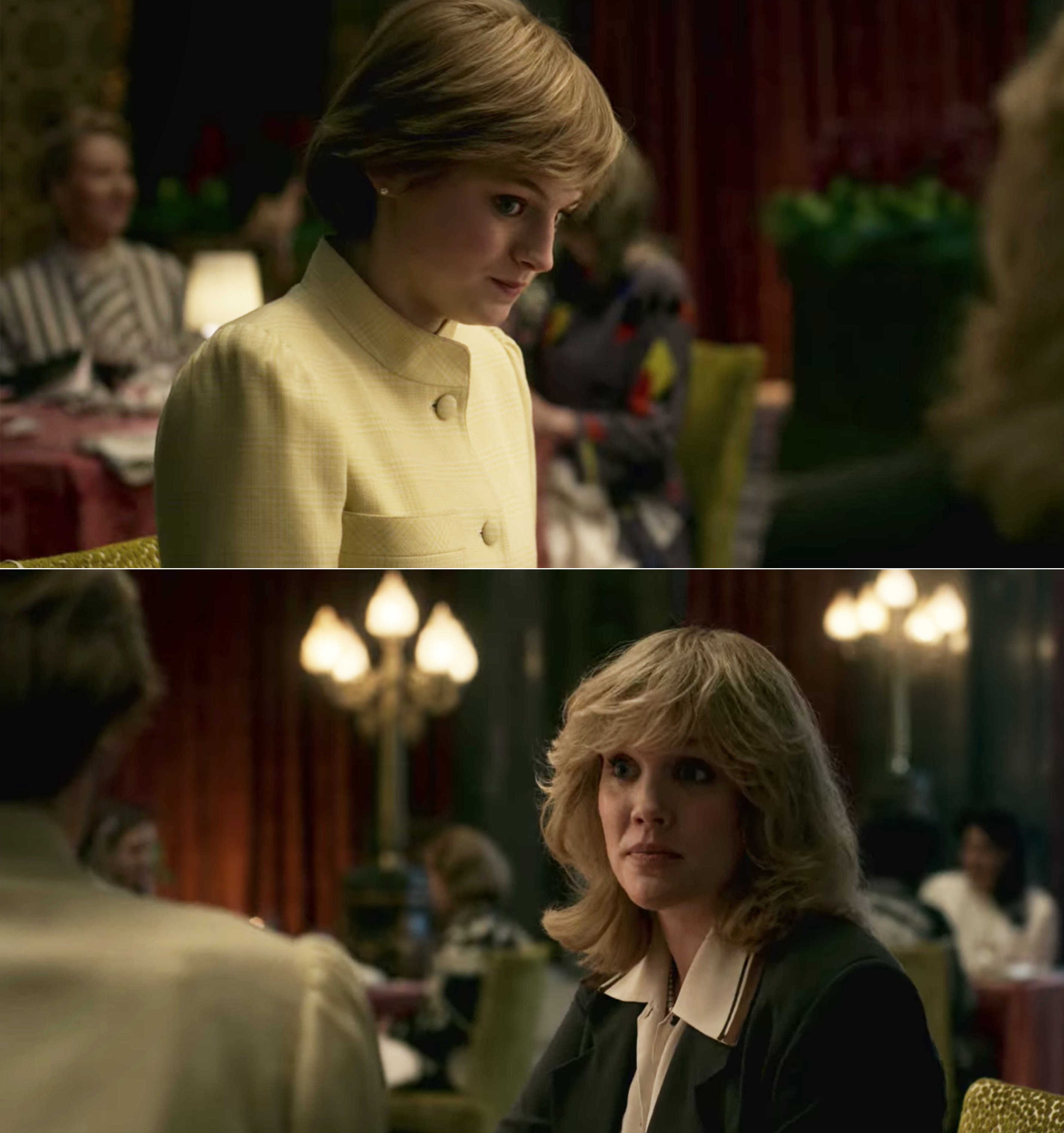 Emma as Princess Diana having a conversation with Emerald Fennell as Camila Parker-Bowles