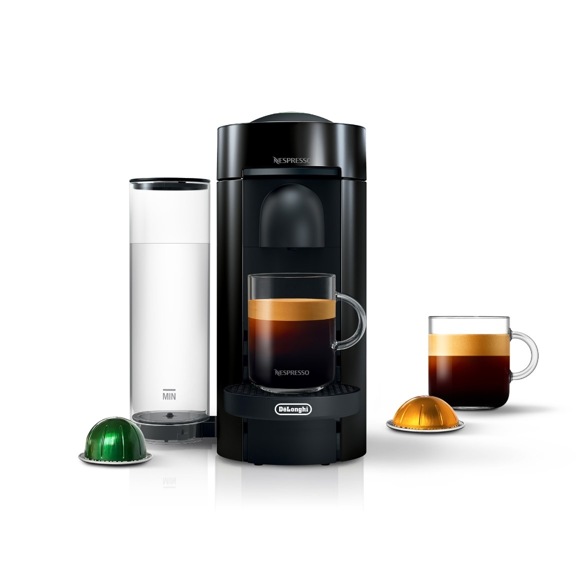 The Nespresso VerturoPlus in black with coffee pods