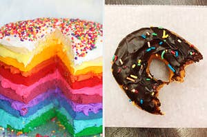 On the left, a layer cake topped with sprinkles, and on the right, a chocolate donut with sprinkles on top and bites taken out of it sitting on a piece of wax paper