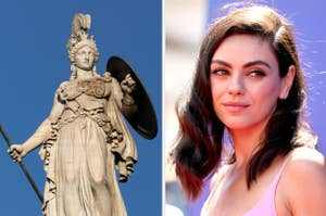 Side-by-side images of Athena and Mila Kunis