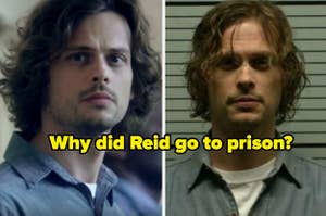 Two side by side photos of Spencer Reid in prison and getting a mugshot with caption,