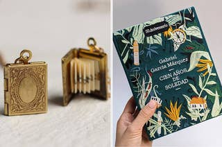 A book locket / a purse that looks like 100 years of solitude