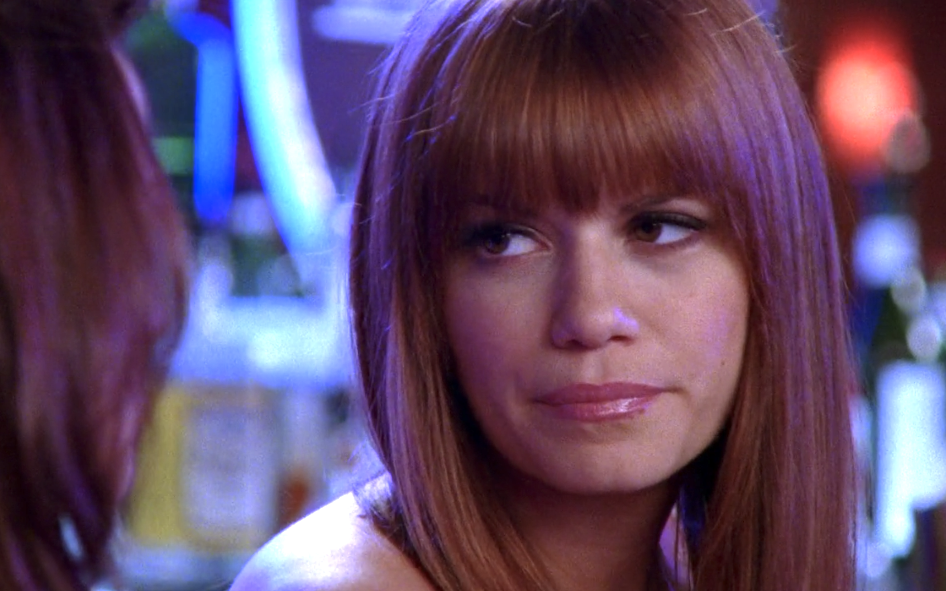 Haley with straight hair with straight across bangs