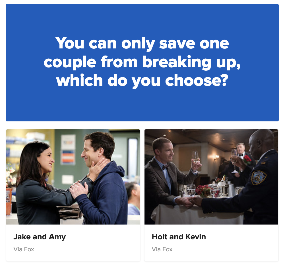 Poll: Would you save Jake and Amy or Holt and Kevin if you could only save one couple?