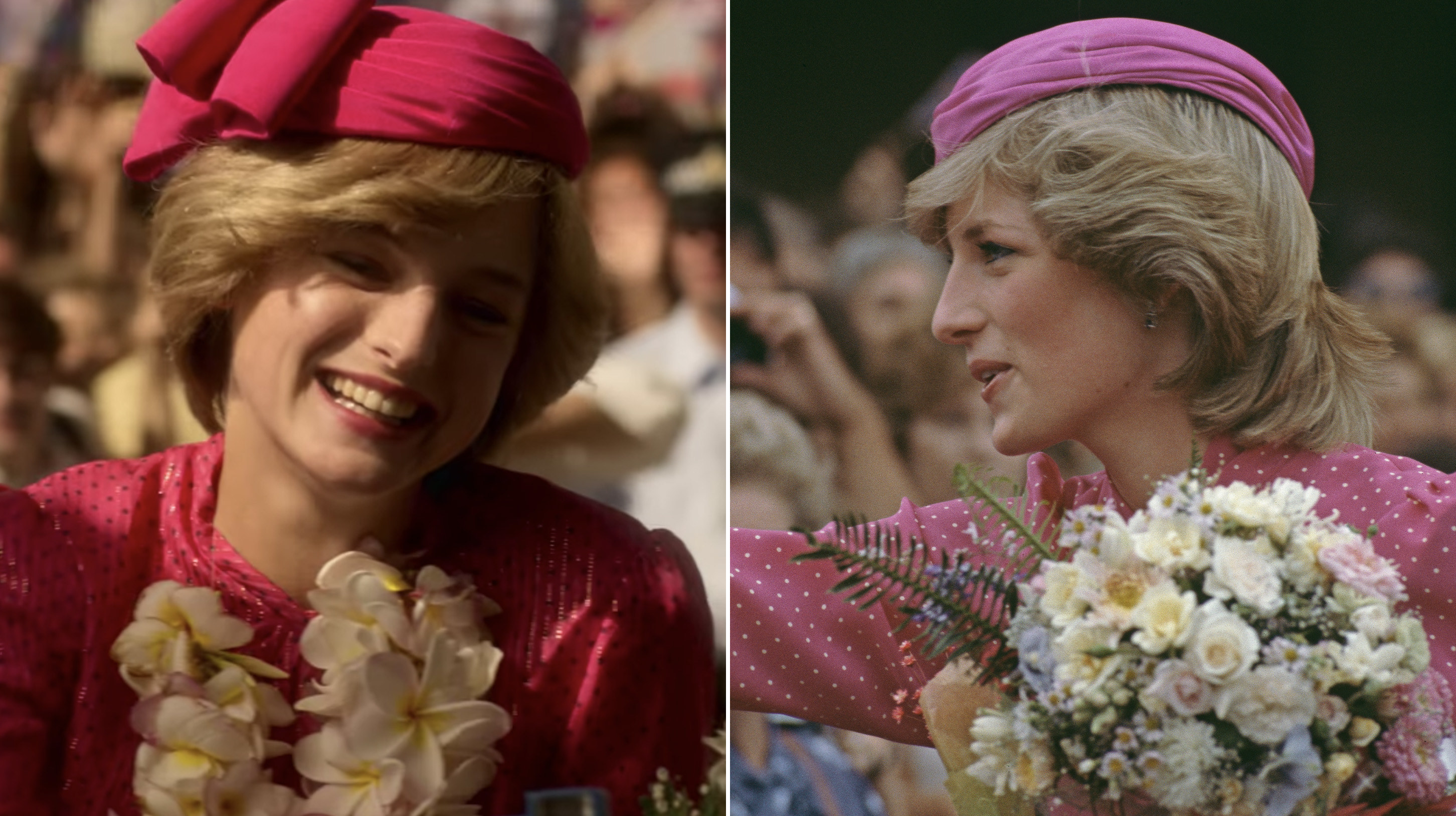 Emma as Princess Diana of the left holding a bouquet of flowers, and Princess Diana on the right