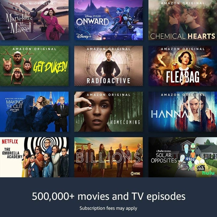 """A view of the Fire Stick screen showing the range of entertainment options with text that reads """"500,000+ movies and TV episodes, subscription fees may apply"""""""