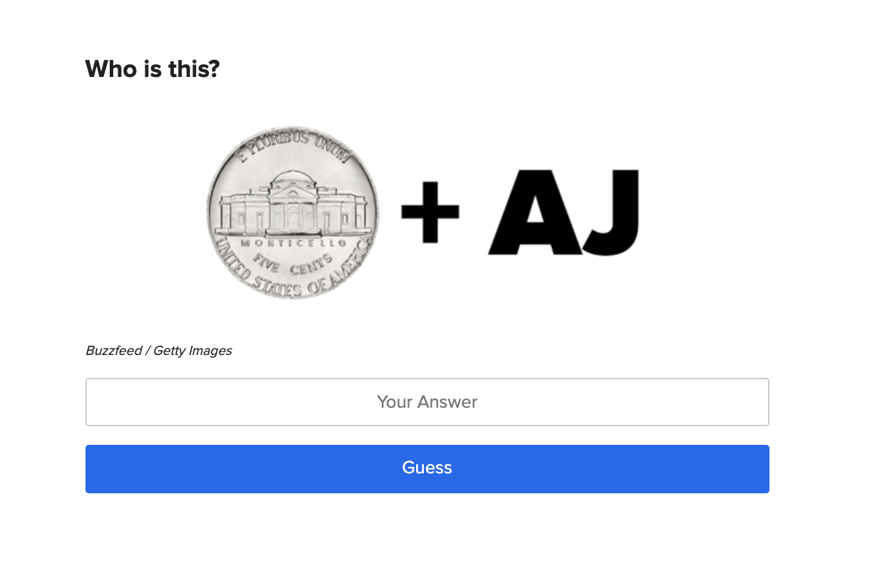 A nickel plus the letters A and J