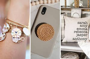 Left image: customizable bangle with charms, middle image: rattan phone stand, right image: customizable throw pillow cover