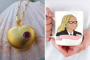 "On the left, a replica of the necklace from ""Love, Actually."" On the right, an Elle Woods mug that reads ""What, like it's hard?"""