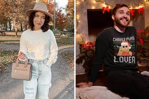 to the left: a model in a white sweater with baubles on it, to the right: a model in a taylor swift themed holiday sweatshirt