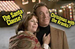 Tim Allen hugging Jamie Lee Curtis – is it The Santa Clause or Christmas with the Kranks