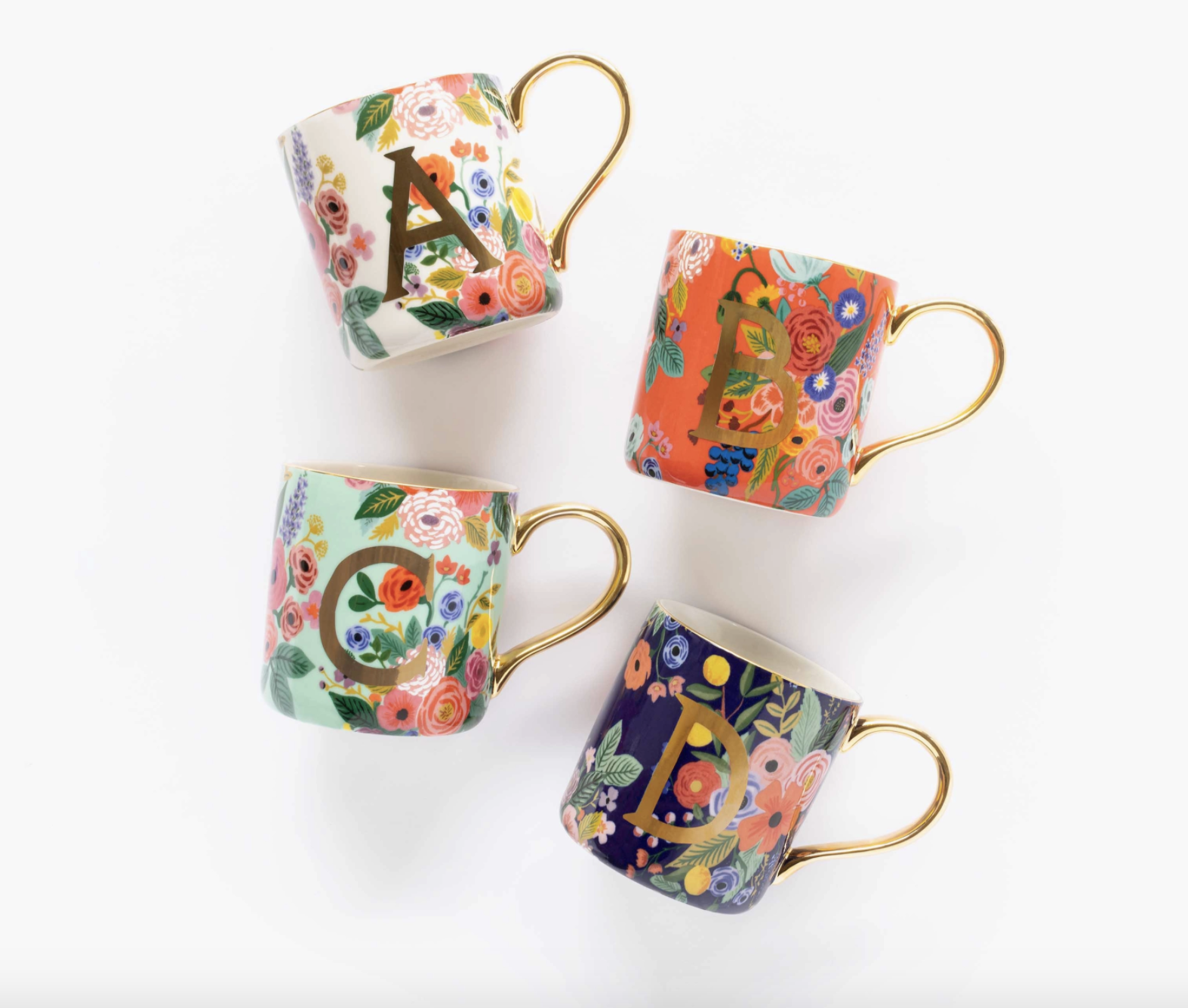 the mugs in different floral designs