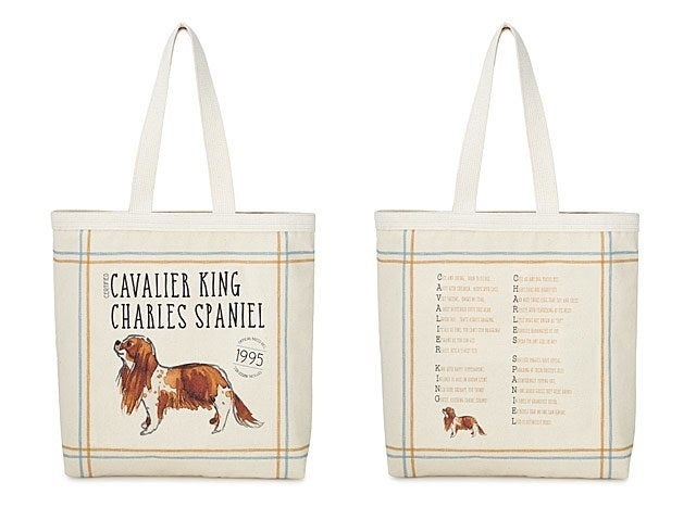 Photo showing both sides of tote with illustration of cavalier king charles spaniel on one side and poem about the dog on the other