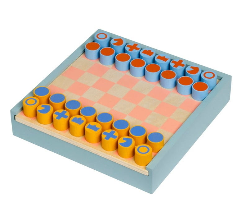 The square board in blue with pink and tan checkered board and yellow and blue pieces with chess symbols on the top