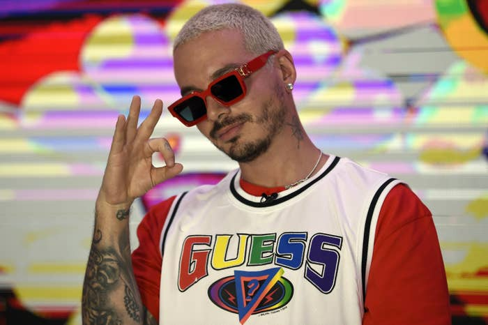 Colombian musician and composer Jose Alvaro Osorio Balvi aka J Balvin poses during a photo call at the Universal Music offices in Mexico City on March 3, 2020