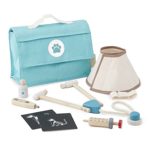 Vet play set with play medical tools, two x-rays, and a cone collar—all in a handy doctor's bag