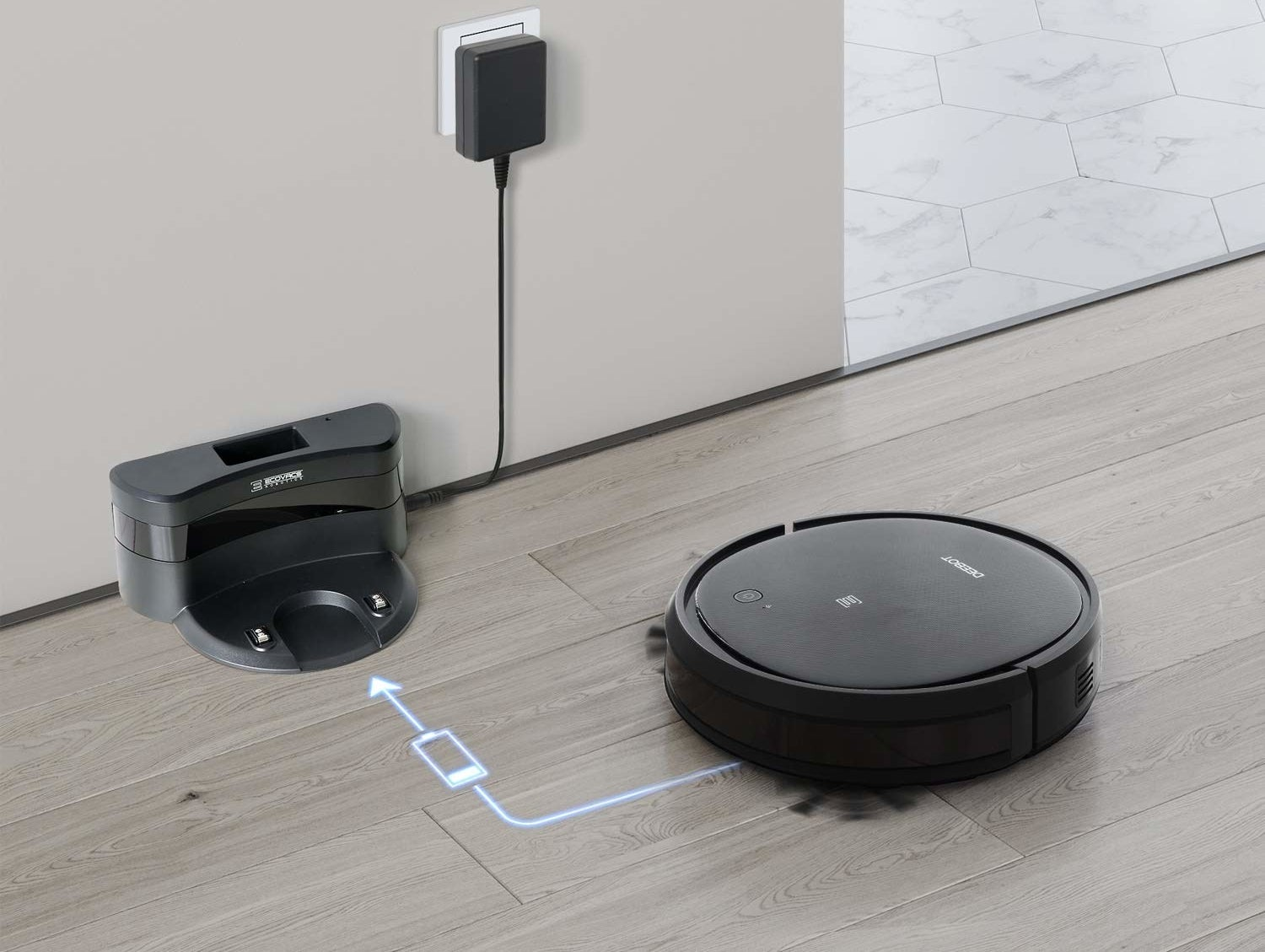 Vacuum robot going back to its station to charge.