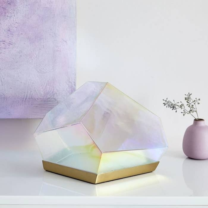 gem look faceted light with gold tone base