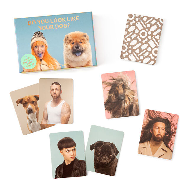 Photo showing the contents of the pack of cards including pictures of people that look like dogs like a person with black bowl cut beside a black pug.