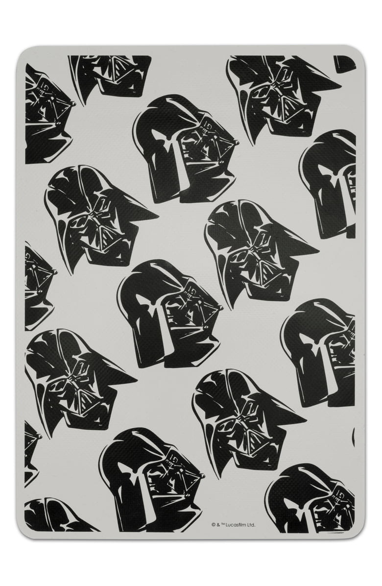 The rectangle sheet in grey with black illustrations of Darth Vader on it