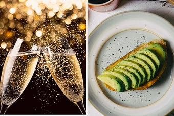 champagne glasses and avocado toast