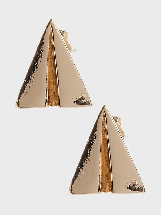 The paper airplane earrings in gold