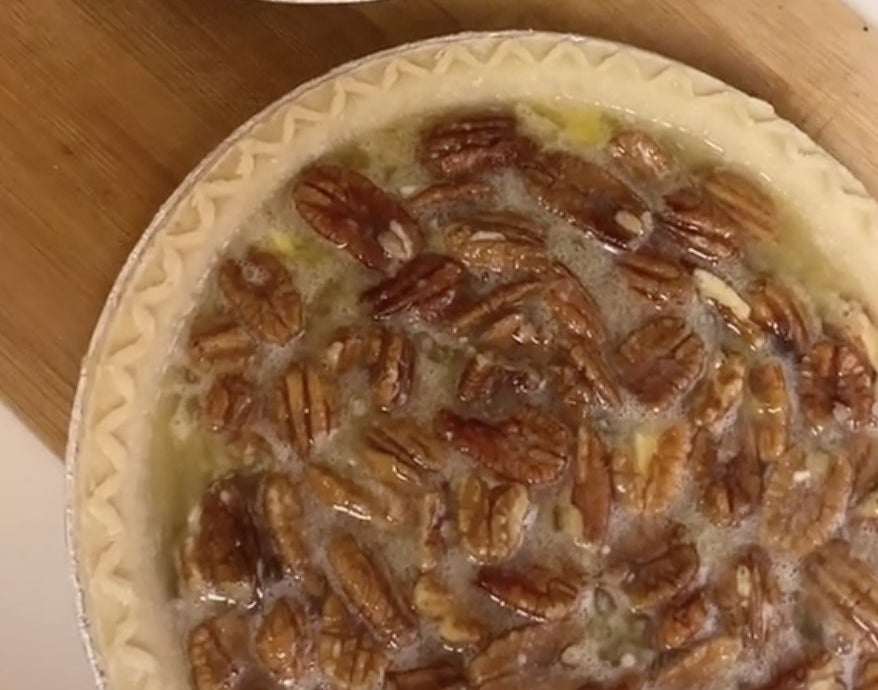 Pie crust filled with pecans