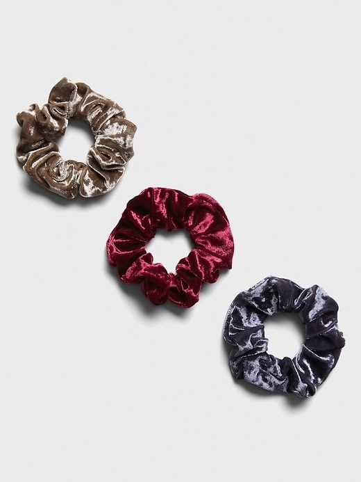 The set of three crushed velvet scrunchies
